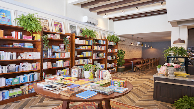 Welcome to The Moon, a whimsical bookstore café on Mosque Street