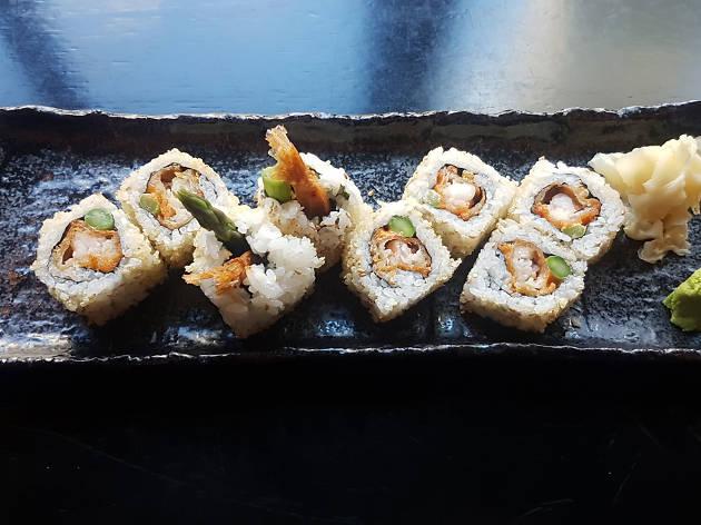 A tempura prawn roll
