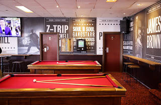 Inside the The Royal Bondi a red pool table