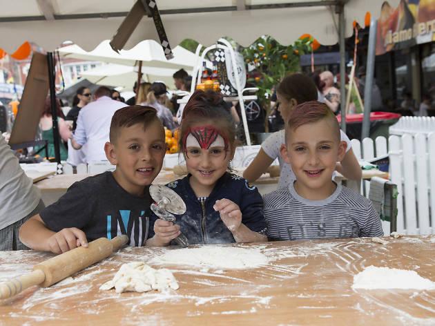 Kids making dough.