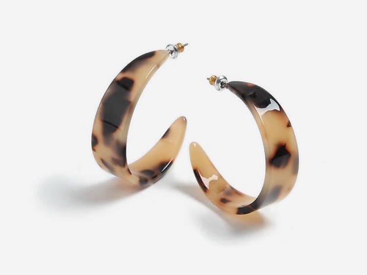 Thick Tortoiseshell Resin Hoop Earrings