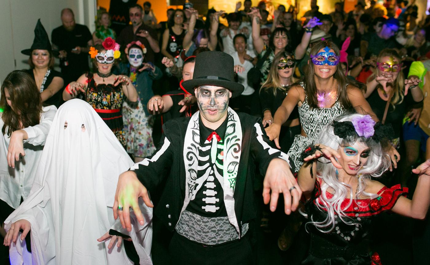 Group of Halloween dressed people.