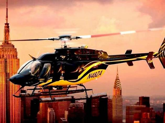 Helicopter over the NYC skyline
