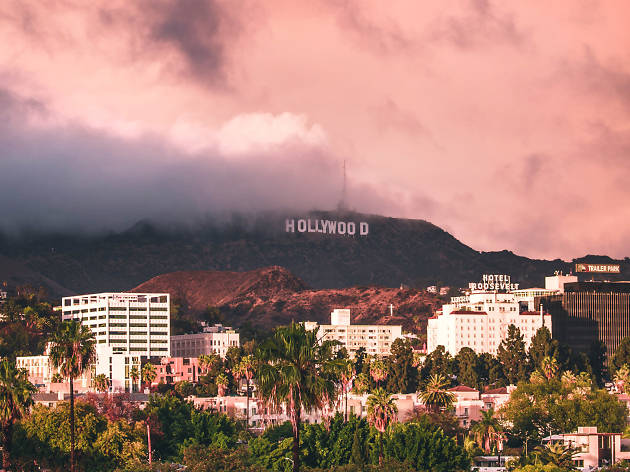 Hollywood Sign in clouds