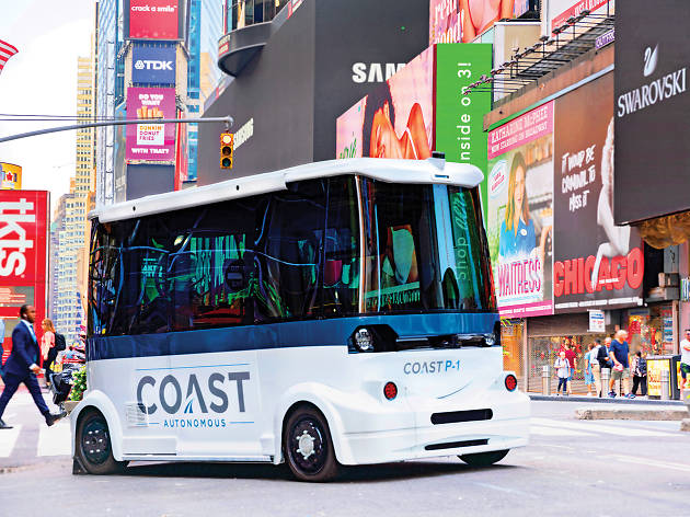 Coast Autonomous self-driving shuttle demo in Times Square