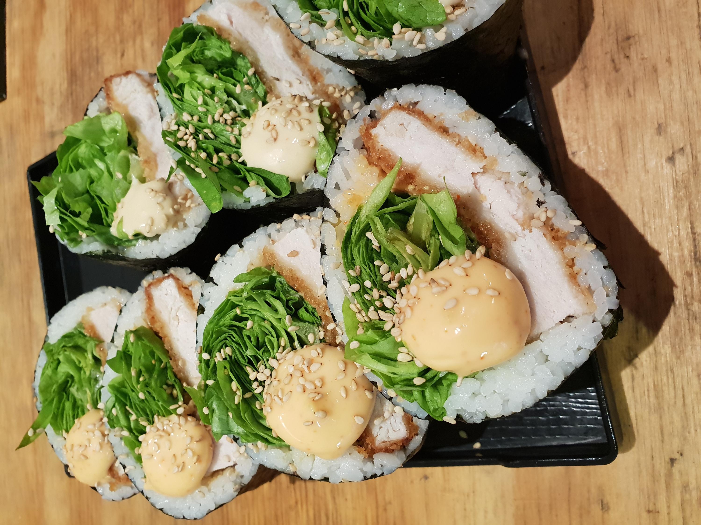 Grain and Nori schnitzel sushi sandwich