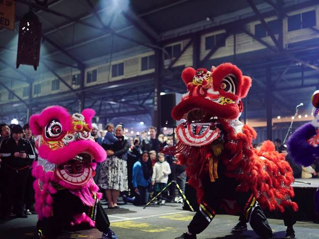 Lion dancers at Hawker 88 night market