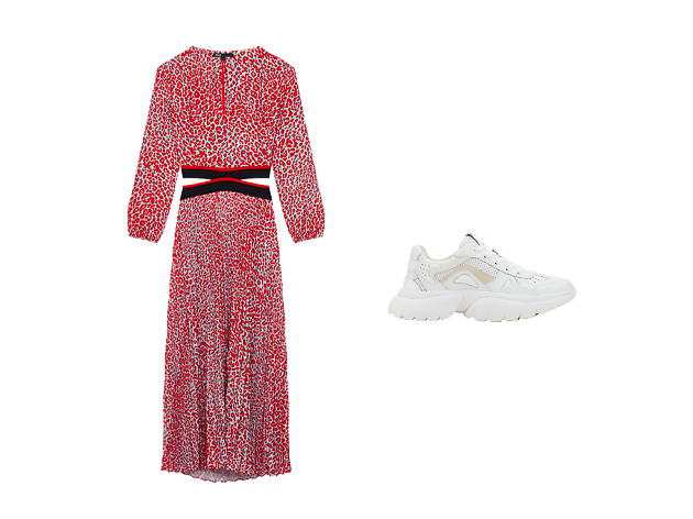 maje leopard dress / w20 sneakers