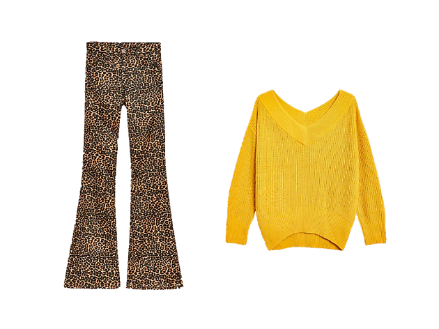 topshop leopard flares / sweater