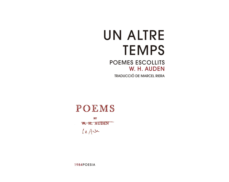 Un altre temps. Poemes escollits, de W.H. Auden