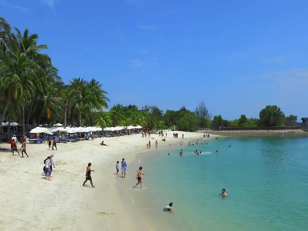 People swimming at Sentosa Beach