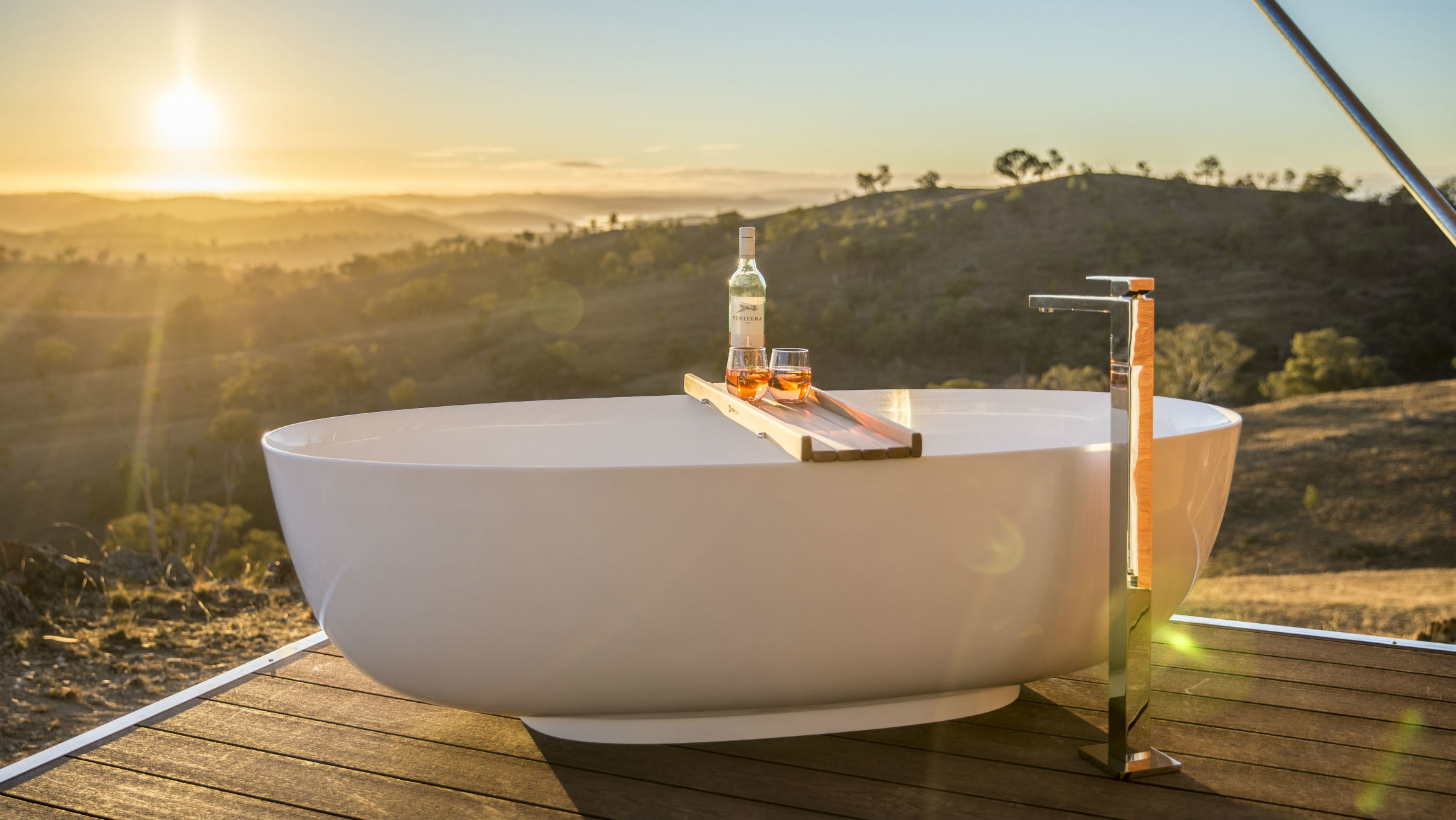 Bath tub at Sierra Escape glamping in Mudgee
