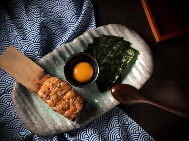 Uoharu seared miso sashimi tartare