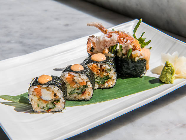 Do not reuse. Sushi at Shack-Fuyu, Soho, for Food and Sake campaign.