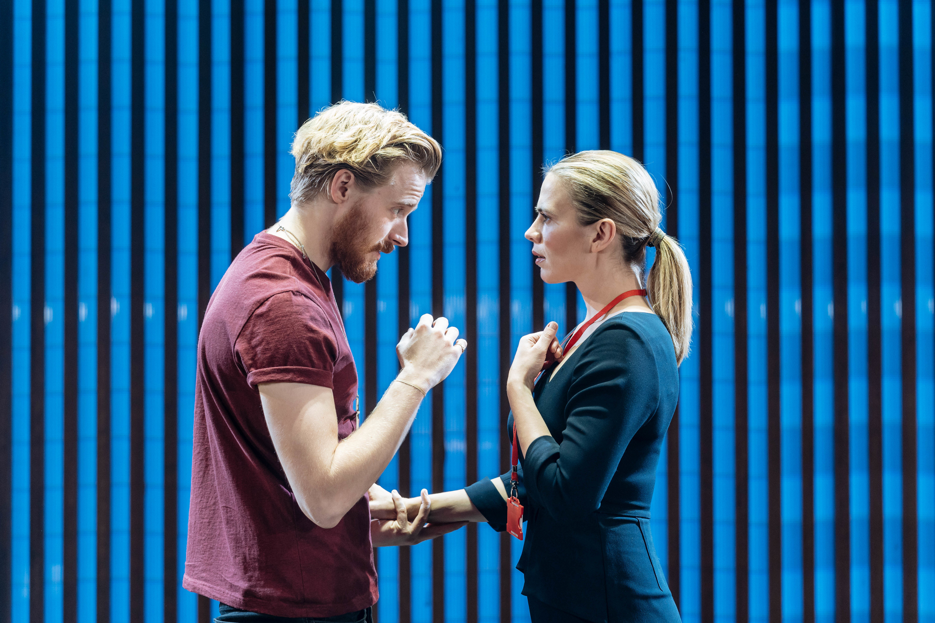 <p>Jack Lowden and Hayley Atwell in 'Measure for Measure'</p>