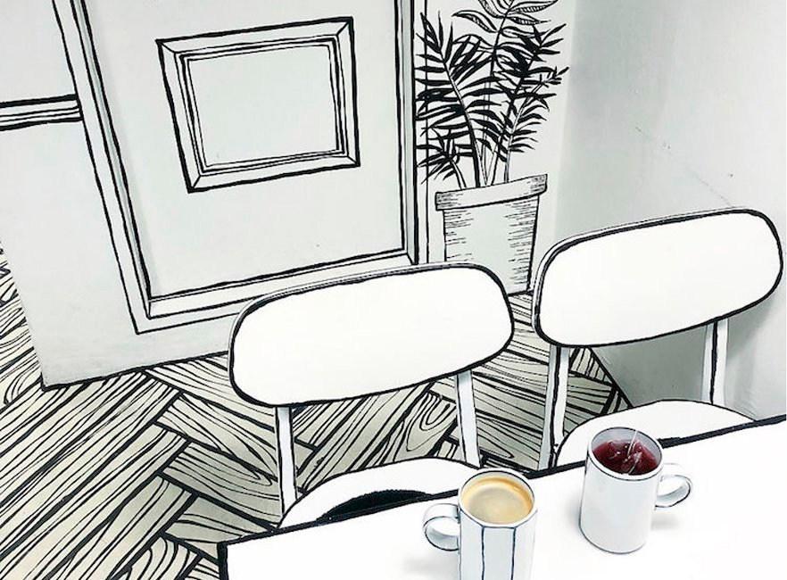 La cafetería pintada a mano que te hará sentir un personaje de cuento