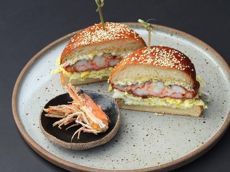 Crumbed prawn burger at Ima Project Café