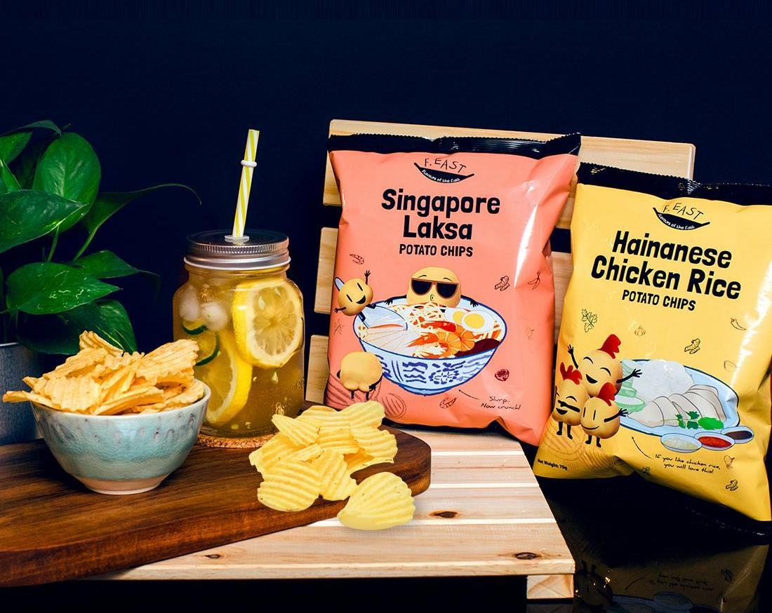 laksa hainanese chicken rice chips