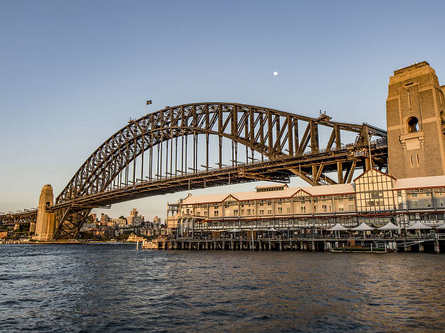 Sydney Harbour Bridge with water in the foreground.