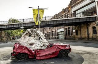 Car crash artwork in Walsh Bay