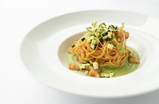 Homemade Tagliolini, roasted prawns, crustacean butter, lemony zucchini - Grissini