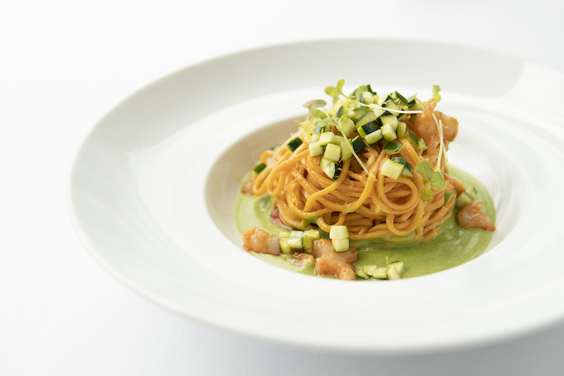 Homemade Tagliolini, roasted prawns, crustacean butter, lemony zucchini - Grissini
