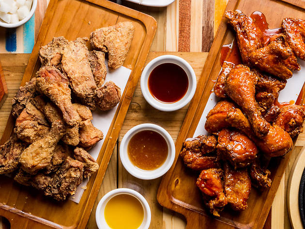 Korean fried chicken and sauces