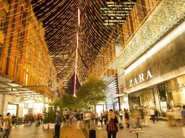 Pitt Street Mall with Christmas lights.