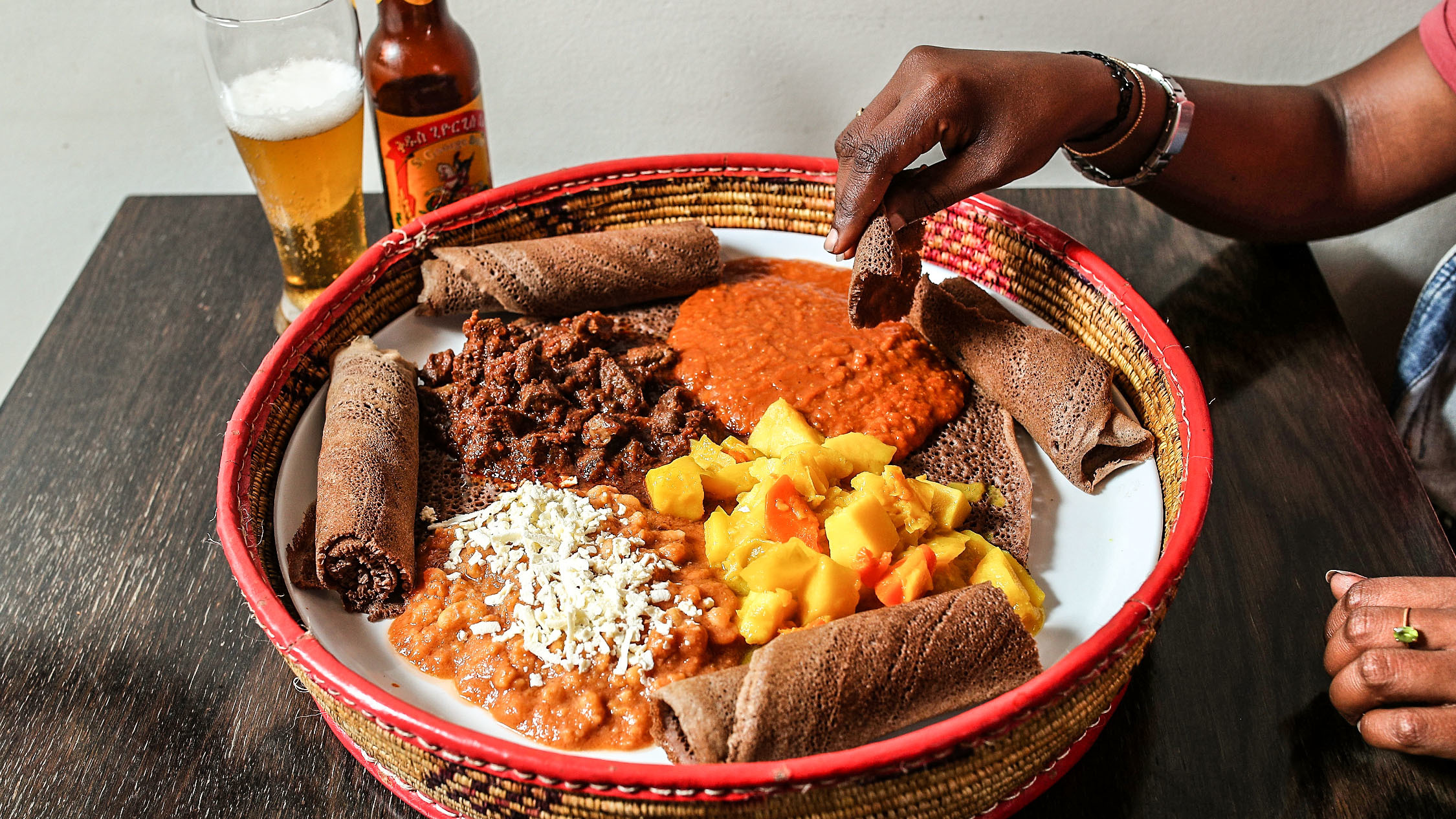 Big bowl with the injera bread at Sabas Ethiopian