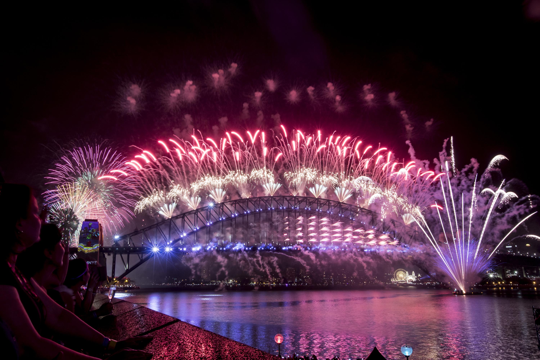 Fireworks on the Sydney Harbour Bridge.