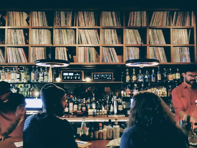 DJ Peanut Butter Wolf vinyl Bar Gold Line below Stones Throw Records in Highland Park