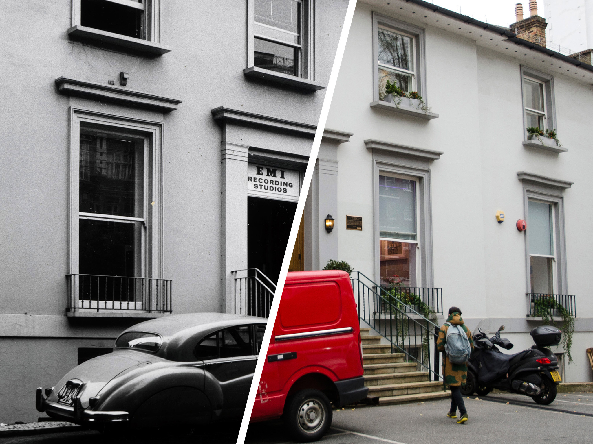 Pictured: Abbey Road Studios then and now