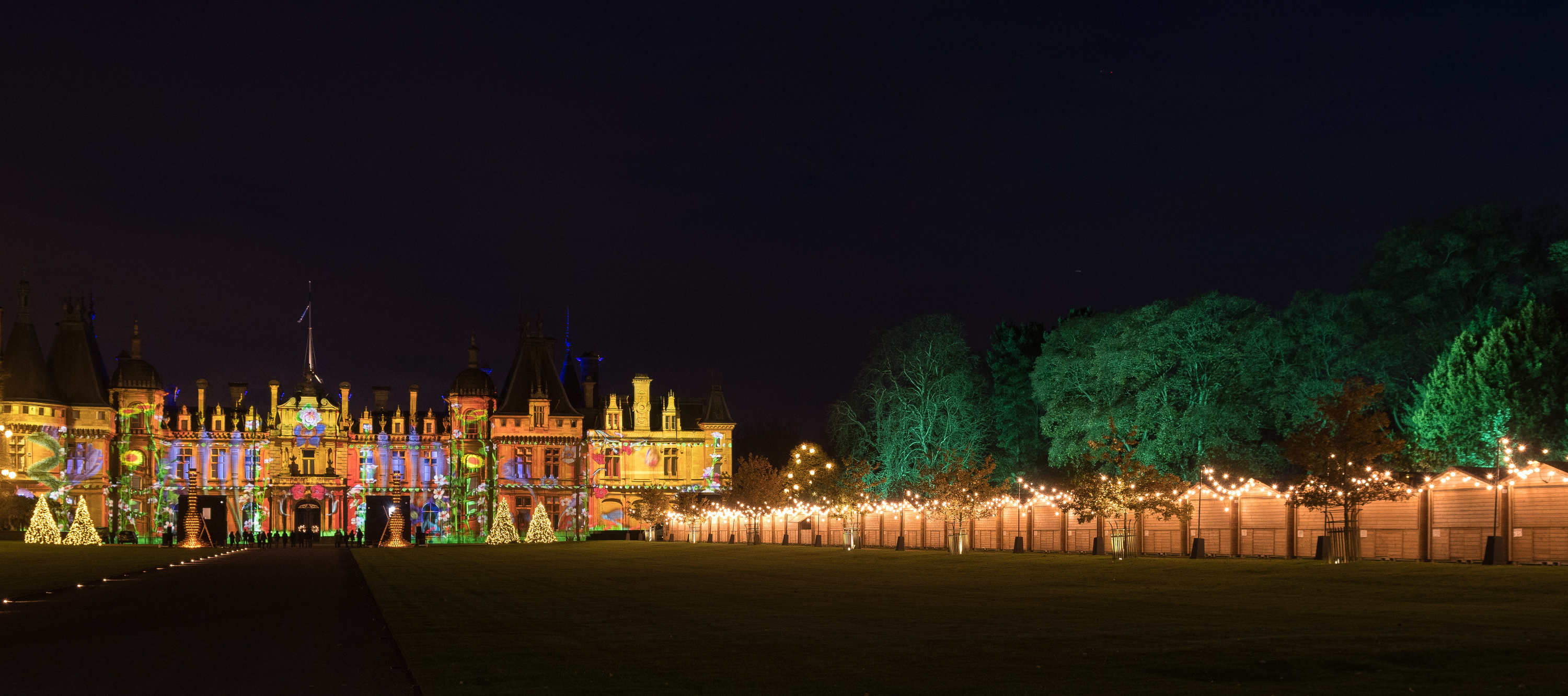 A picture of Waddesdon Manor lit up for Christmas