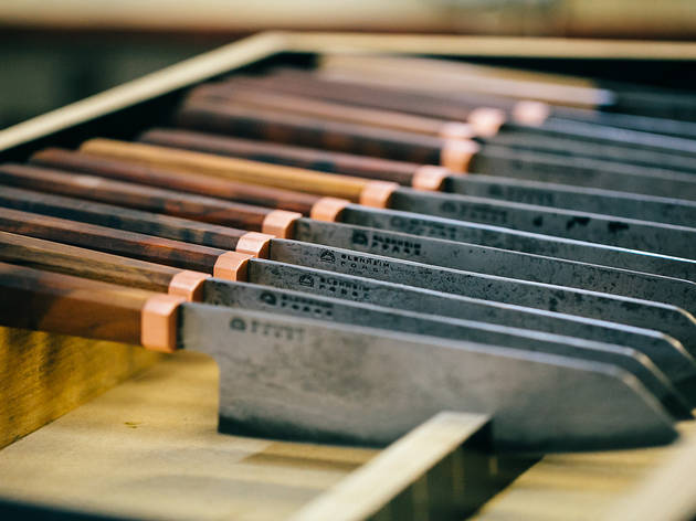 A knife sharpening class with Blenheim Forge