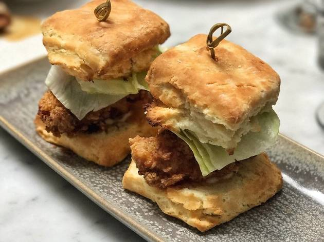 Fried chicken biscuits at The Elite Cafe