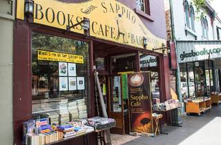 Outside on street at Sappho Books Cafe & Wine Bar