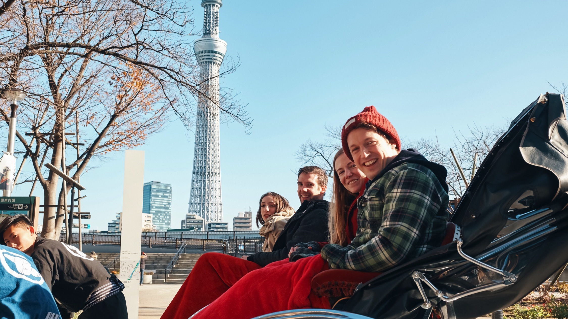 Rickshaw ride whilst viewing Skytree and Asakusa