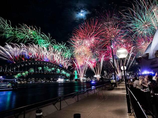 Sydney Harbour Bridge with fireworks.
