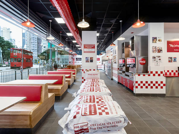 Interior of Five Guys in Wan Chai