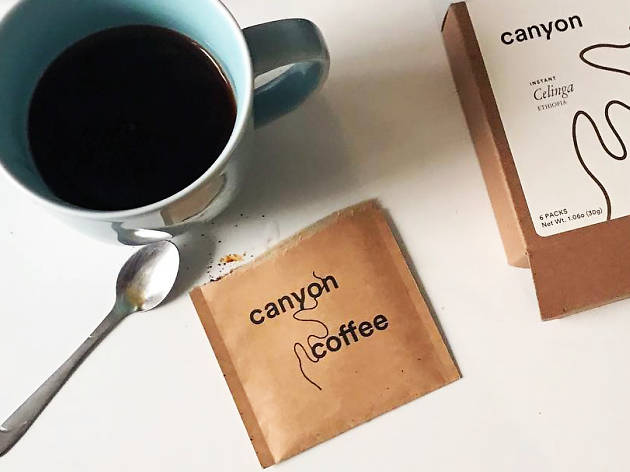 Canyon Coffee instant coffee packs on the go