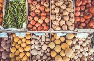 Fresh produce in boxes at a market