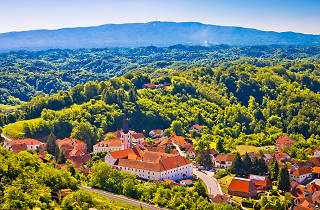 Picturesque town of Klanjec aerial view and Medvednica mountain