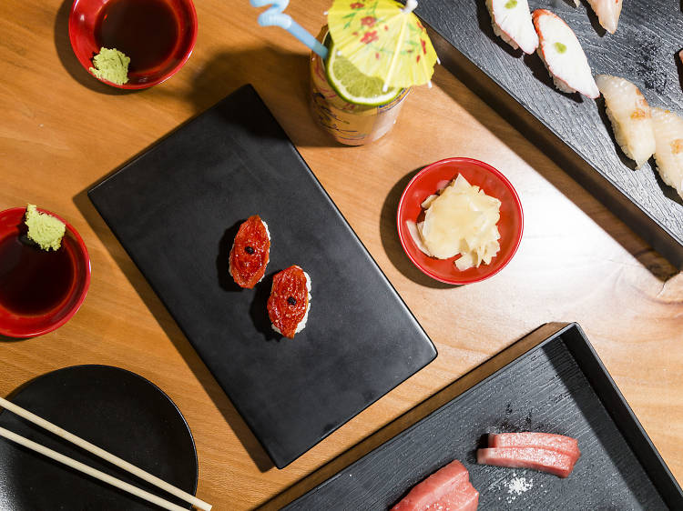 Melted tomato nigiri at Sushi-san