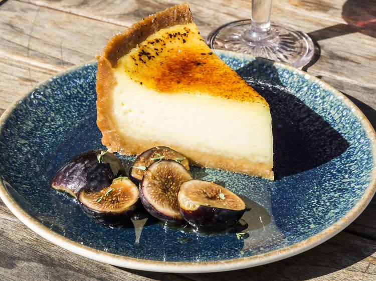 Crème brûlée pie at Aba