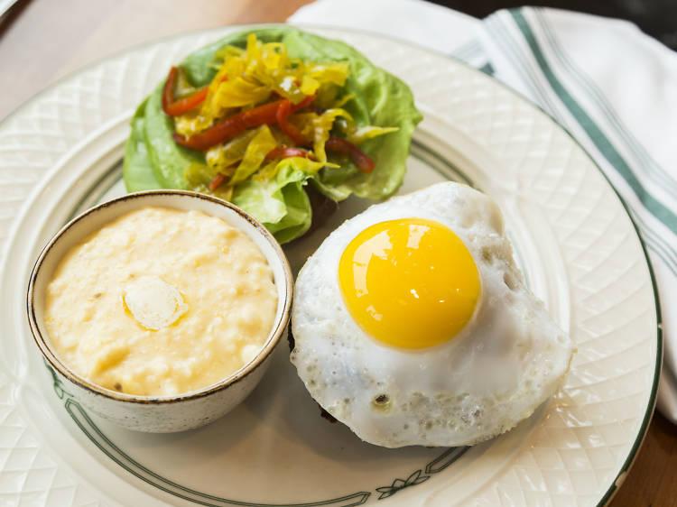Cajun duck egg and boudin atBigJones