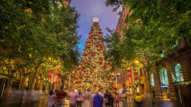 Christmas decorations in Martin Place.