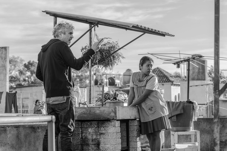 Alfonso Cuaron on set 'Roma'