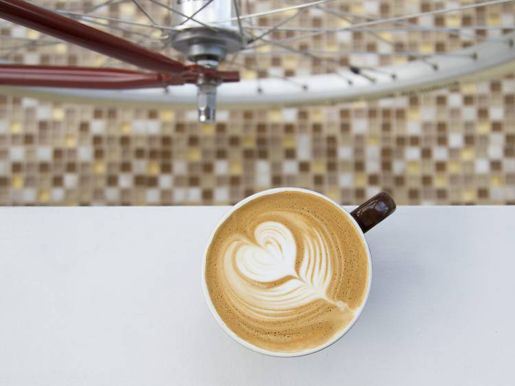 Lavender latte at Heritage Bicycles