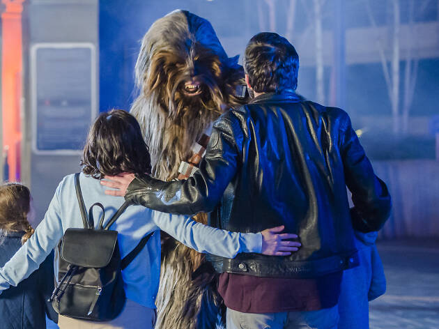Do not reuse. Meeting Chewbacca - Disneyland Paris Legends of the Force campaign.