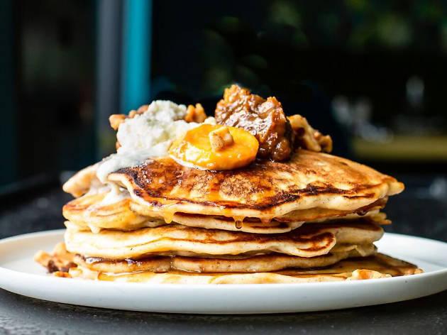 platano maduro pancakes at Three